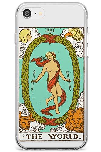 Il Tarocchi Mondo a Colori Slim Cover per iPhone 7 Plus TPU Protettivo Phone Leggero con Psichico Astrologia Fortuna Occulto Magia