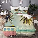 TONKSHA Juego de Ropa de Cama con Funda de edredón, Minivan de Surf en la Playa Tema de vocación Inspirada Retro Nubes en el Cielo de Verano Destino de Luna de Miel,140x200