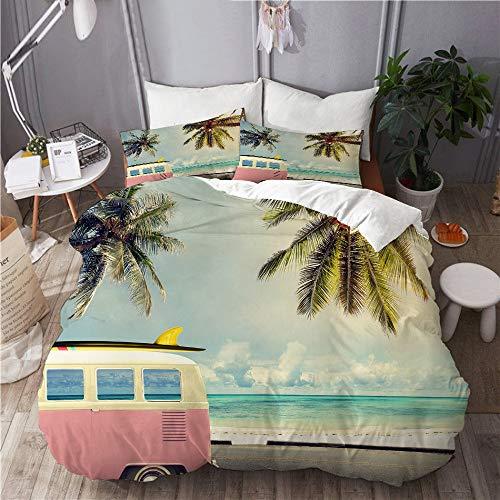 PANILUR Mikrofaser Bettwäsche 200x200cm,Surf Minivan am Strand Retro inspirierte Berufungsthemenwolken und Summer Sky Honeymoon Destination,mit Reißverschluss Bettbezug 2 Kissenbezug 50x80cm