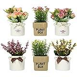 LUEUR 6 macetas artificiales con arreglos de flores falsas de cerámica en macetas pequeñas para el hogar, la granja, la oficina, el alféizar de la ventana, centros de mesa de centro de mesa de...