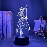 Sword Art Online Kirito 3D ilusión lámpara japonesa anime luz 16 colores con remoto lámpara de escritorio para regalo de Navidad