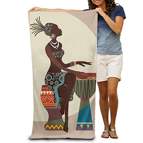 JACARTER PUSAUL African Women Paly Tabour Quick-Drying Pool Soft Towel 31x51 Inches- Travel Bath Towel for Adults