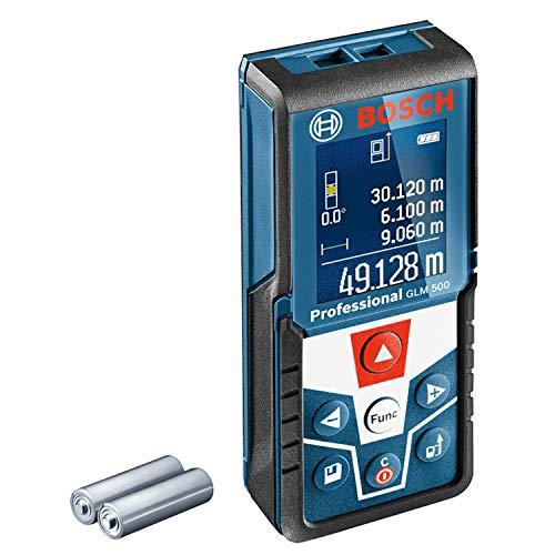 Bosch Professional Medidor láser de distancia GLM 500 (alcance 0,05-50m, inclinómetro 0 – 360°, precisión de medición: +/- 1,5mm, 2 baterías AAA, en caja)