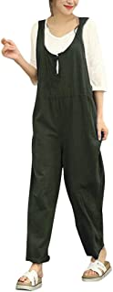 Women Cargo Sleeveless Dungarees Loose Cotton Long Playsuit Jumpsuit Bib Pants