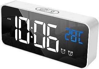 ساعة منبه رقمية متعددة الوظائف للنوم الثقيل مع نقطة تغيير USB 13 نغمة رنين 2 ضبط المنبه عرض درجة الحرارة 4 مستويات سطوع لغ...