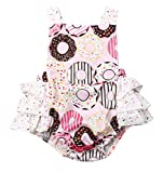 Inflant Baby Girls Clothing Donut Ruffle Cross Back Bow Romper Jumpsuit (6-12 Months, Donut)