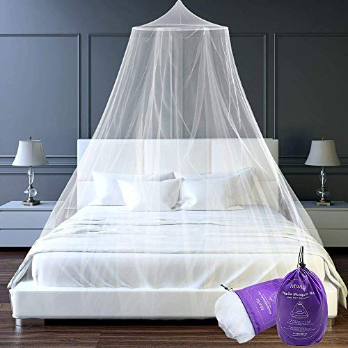 Htovila Universal White Dome Mosquito Mesh Net Easy Installation Hanging Bed Canopy Netting for Single to King Size Beds...