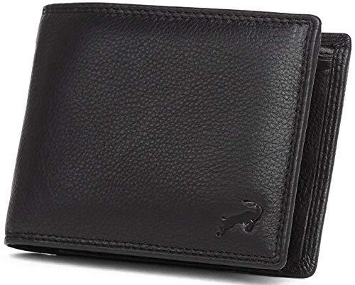 Hodalump Herren Leder Geldbörse mit RFID-Schutz Geldbeutel Schwarz
