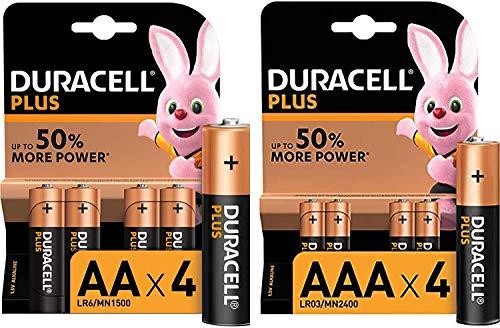Duracell Plus AA e AAA, 4 Batterie Stilo Alcaline e 4 Batterie Ministilo Alcaline