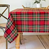 Benson Mills Holiday Plaid Yarn Dyed Tablecloth RED 60X120