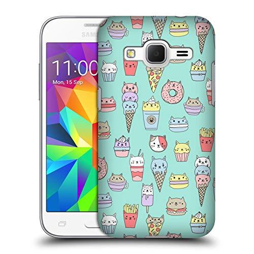 Officiële Andrea Lauren Design Kattenvoer Voedsel Patroon Hard Back Case Compatibel voor Samsung Galaxy Core Prime