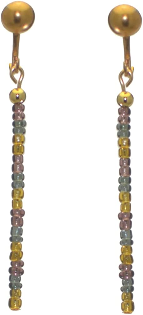 FIESTA JOY gold plated yellow grey and amethyst drop clip on earrings
