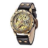 Relojes mecánicos automáticos retro de marca para hombre, reloj de pulsera de cuero con viento propio para hombre, regalo Relogio Masculino Hyococ (color: negro)
