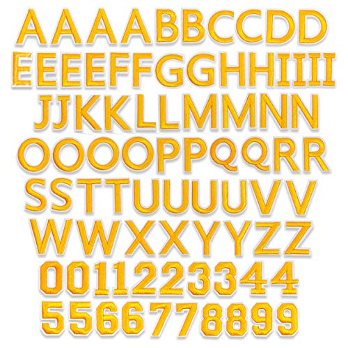 Gold Alphabet Letter and Number Patches (1.4 x 1 in, 82 Pieces)