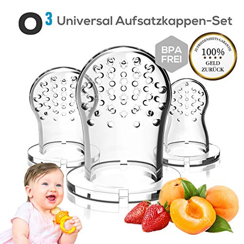 O³ Universal Aufsatzkappen-Set für Fruchtsauger // 3 Aufsatzkappen aus Silikon // Passend für alle Fruchtsauger // BPA-frei