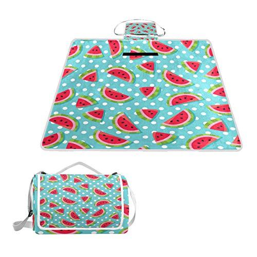 TIZORAX Picknickdecke, Wassermelonen-Motiv, wasserfest, faltbar, Picknick-Matte für Strand, Camping, Wandern