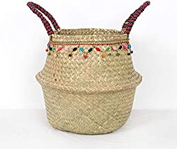 Clothes hamper Woven Multifunctional handbag wicker basket Seagrass Laundry Basket Natural Rattan Flower Basket Vase Plant...
