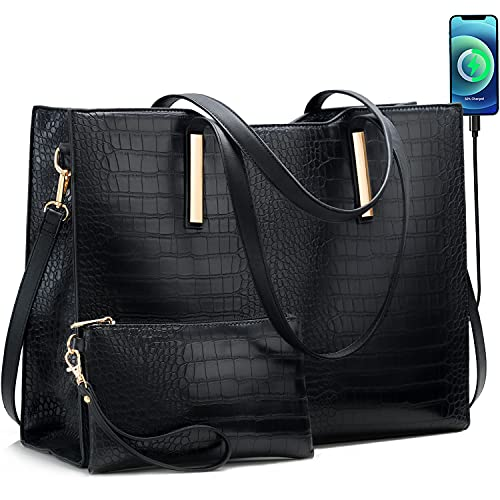 Laptop Tote Bag for Women Large 15.6 inch Computer Messenger Bag Office Briefcase Shoulder Handbag Purse Work Travel Business Waterproof Lightweight 2pcs Set with USB Charging Port PU Leather Black
