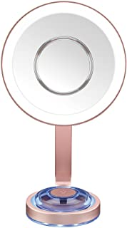 Conair Single-sided Lighted Makeup Mirror With Led Lights; 1x Magnification With Removable Magnetic 10x Magnified Spot Mirror; Rose Gold Finish With Blue Mood Light On Base