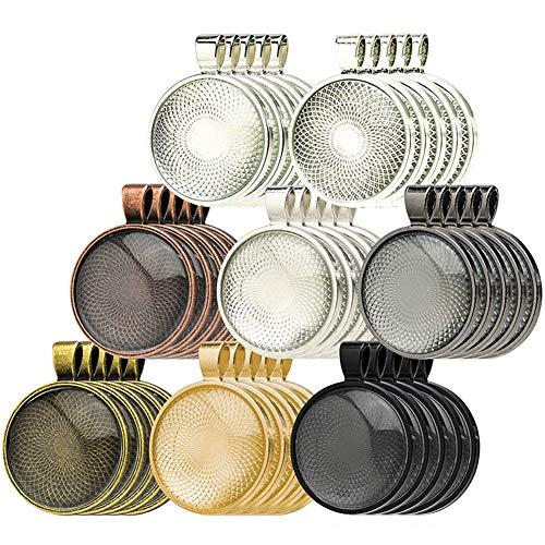 Anhänger Tablett 40 Stück rund Anhänger Tabletten mit 40 Stück Glas Cabochons für DIY Basteln Schmuck Geschenk machen Vintage Bronze Anhänger Basis für Foto Halskette