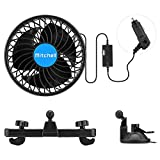 Joytutus Car Fan, Dual Purpose for Front Window & Rear Seat, 360° Coverage, Adjustable Strong Airflow & Silent Mode 12V Fan, Car Fans Cigarette Lighter for Car/SUV/RV/Truck/Boat Use