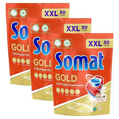 Somat Gold, Spülmaschinentabs, 150, 3 x 50, Tabs, Extra Kraft gegen Eingebranntes und Glanz Effekt