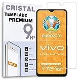 REY Protector de Pantalla para Vivo Y72 5G - Vivo Y52 5G - Vivo IQOO Z3, Cristal Vidrio Templado Premium