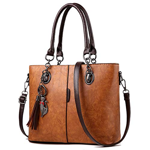 Bolso bandolera de piel para mujer, bolso de mano con asa superior Ybn