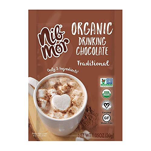 Nib Mor Hot Chocolate Packets or Cold Drinking Chocolate Mix - Organic, Vegan, Gluten Free Bulk Hot Cocoa - Traditional, 1.05 Ounce (Pack of 36)