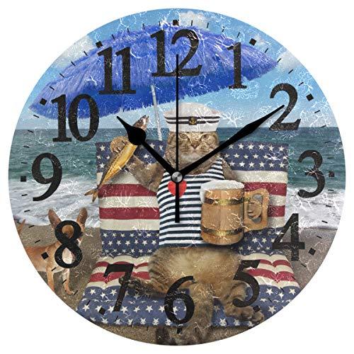 Emoya Wanduhr aus Holz, rund, mit Katzenmotiv, Bier, geräucherter Fisch, Blauer Regenschirm, tropischer Strand, Vintage, rund dekorative Wanduhr