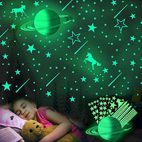 Pegatinas De Estrellas Para Pared,281 Piezas Luminoso Pegatinas de Pared,Pegatina Pared Fluorescente,Decoración Fluorescente para Pared,para Chico Niña,Casa Interior Mural (Estrella)