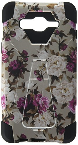 HR Wireless Rubberized Design Hybrid T Kickstand Case for Galaxy On5 - Romantic Pink White Roses Floral