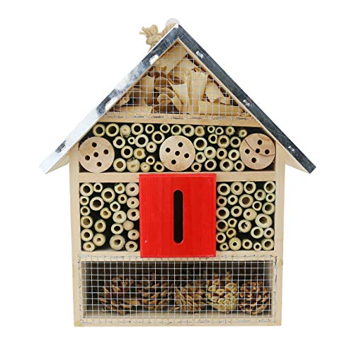 Sunnygalde Large Insect House Hand-Made Natural Wooden Insect House Garden Bug Hotel Perfect Home for Ladybugs/Mason Bees/Butterflies Live (11.8' x 8.4' x 4.8')