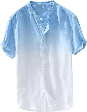 Camisa De Manga Corta Hombre Casual Sin Cuello Camisas De Lino Playa