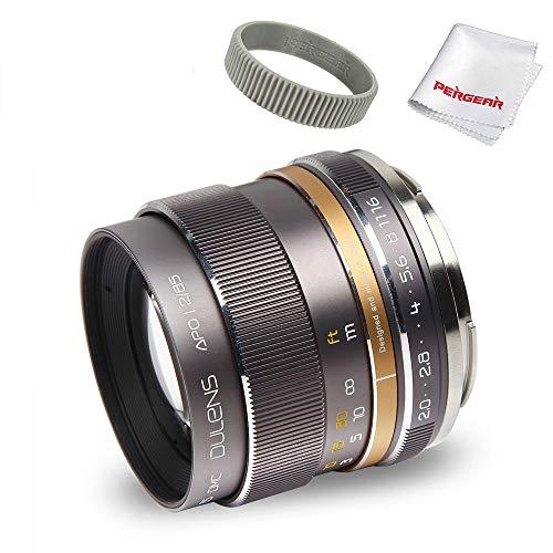 DULENS APO 85 mm F2.0 Lente Prime con Elemento apocromático para cámaras Nikon de Montura F de Montura Completa, construcción Totalmente metálica, Anillo de Enfoque de TPU Pergear (Gris Titanio)