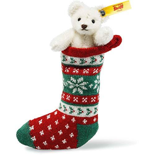 Steiff 026768 Mini Teddybär in Socke Mohair weiß 8 cm