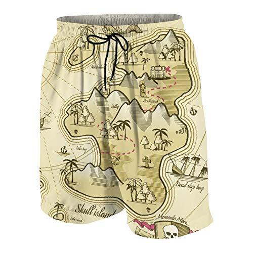 SUHOM De Los Hombres Casual Pantalones Cortos,Pirata, Mapa Dibujado a Mano de Treasure Island Sea Adventure Brújula de navegación oceánica,Traje de Baño Playa Ropa de Deporte con Forro de Malla