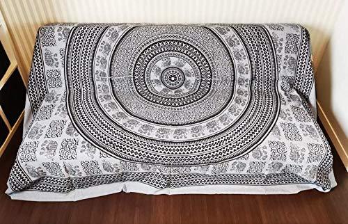 Goods4good Decoración con Diseño de Mandala Elefantes Ideal Cubre Sofa Colcha Cama Pareo Playa Picnic Familiar Grande 210x240cm 100% Algodón (Azul y Negro)