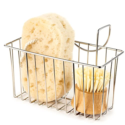 Product Image of the Kitchen Sponge Holder, Sink Basket Sink Caddy Brush Dishwashing Liquid Drainer Rack Silver, Medium