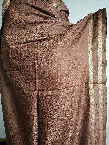 Handmade pashmina Stole with gold zari border product image