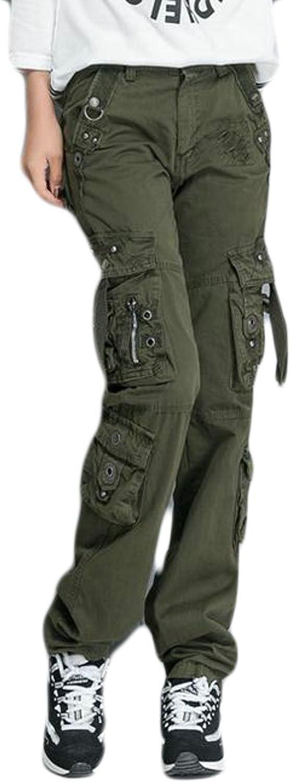 Papijam Womens Classic Multi Pocket Straight Leg Outdoor Cargo Pant