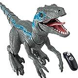 WBHZ Remoto Dinosaurio Robot Juguete-Dinosaurio Interactivo,Dinosaurio Jurassic World/Velociraptor -Juguete De Dinosaurio Inteligente para Caminar-pulverizar/Cantar/Educación-Regalo para Niños