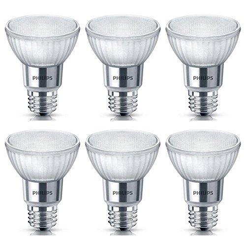 Philips LED 471151 50 Watt Equivalent Classic Glass PAR20 Dimmable LED Flood Light Bulb (6 Pack), 6-Pack, Cool White, 6 Piece