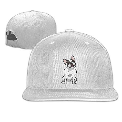 Aiguan Frenchie Love Flat Visor Baseball Cap, Fashion Snapback Hat White