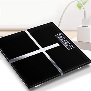 DFJU Báscula de baño Profesional Pantalla LCD Báscula de Piso Carga USB Vidrio Báscula electrónica Inteligente Medición Báscula Digital Durable (Color: A2)