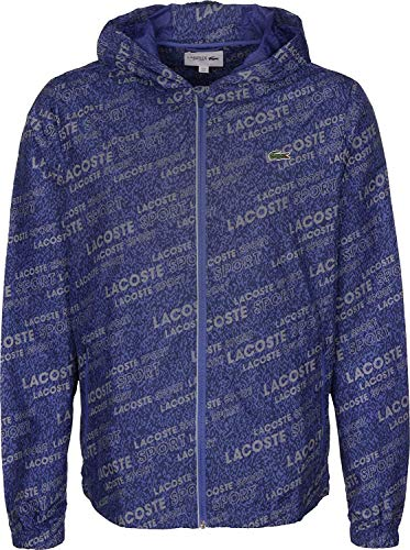 Lacoste Men's Sport All Over Print Graphic Full Zip Hooded Jacket, Methylene/Obscurity, XL