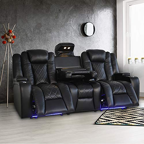 Valencia Oxford Home Theater Seating | 11000 Top Grain Black Leather, Power Recliner, with Drop Down Center Console (Row of 3)