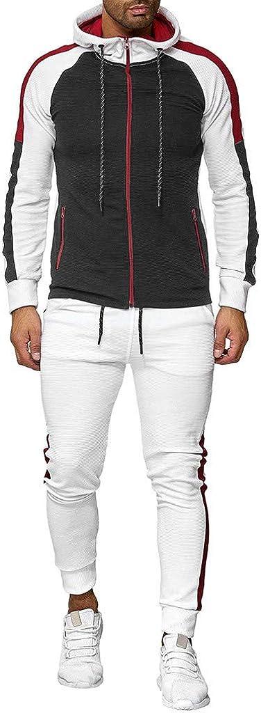 Men's 2 Piece Tracksuit Set Zipper Block Hoodie+Elastic Color Over item Outstanding handling P