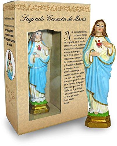 Statua del Sacro Cuore di Maria da 12 cm in Confezione Regalo con segnalibro in Versione Spagnolo