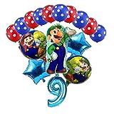 WHBGKJ Globo 16 unids Super Mario Globos 32 Pulgadas Número Globos Boy Girl Fiesta de cumpleaños Mario Luigi Bros Azul Rojo Rojo Latex Globo Set decoración (Color : Blue 9, Shape : 16pcs)